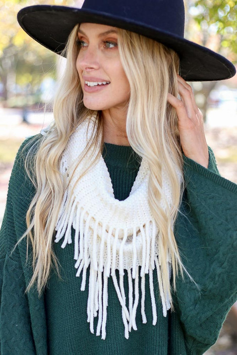 Ivory - Chenille Fringe Infinity Scarf from Dress Up