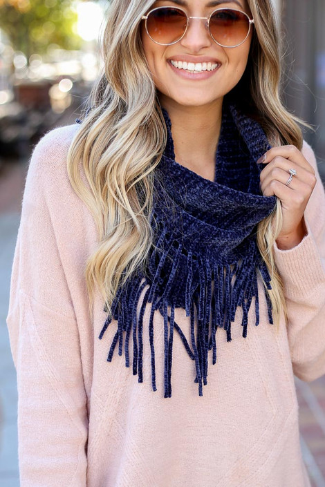 Navy - Chenille Fringe Infinity Scarf from Dress Up