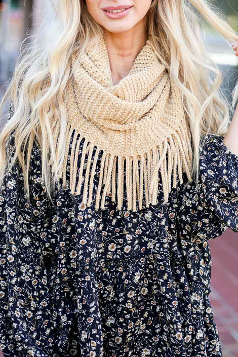 Mustard - Chenille Fringe Infinity Scarf from Dress Up