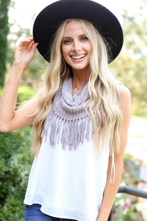 Model wearing the Chenille Fringe Infinity Scarf from Dress Up - Front View