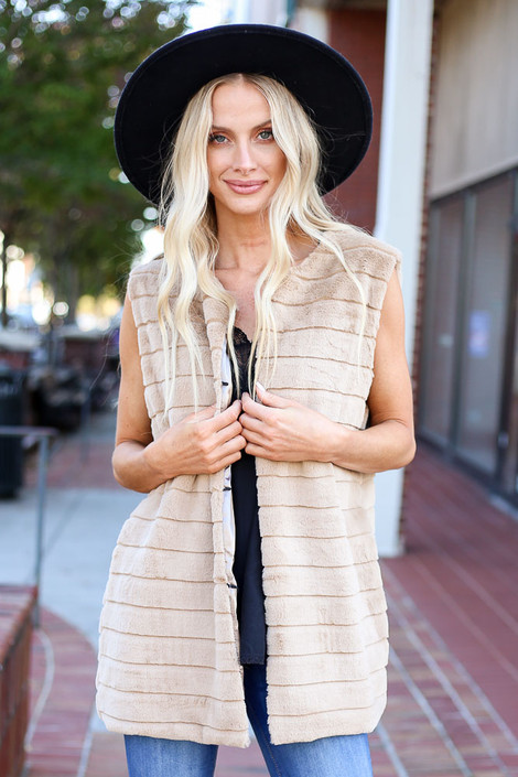 Model wearing the Luxe Faux Fur Vest from Dress Up - Front View