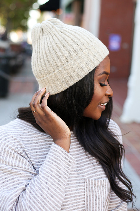Taupe - Ribbed Beanie from Dress up Boutique