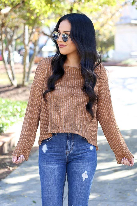 Rust - Open Ribbed Knit Cropped Sweater from Dress Up Boutique