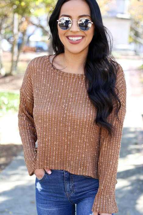 Elena Cropped Ribbed Knit Top