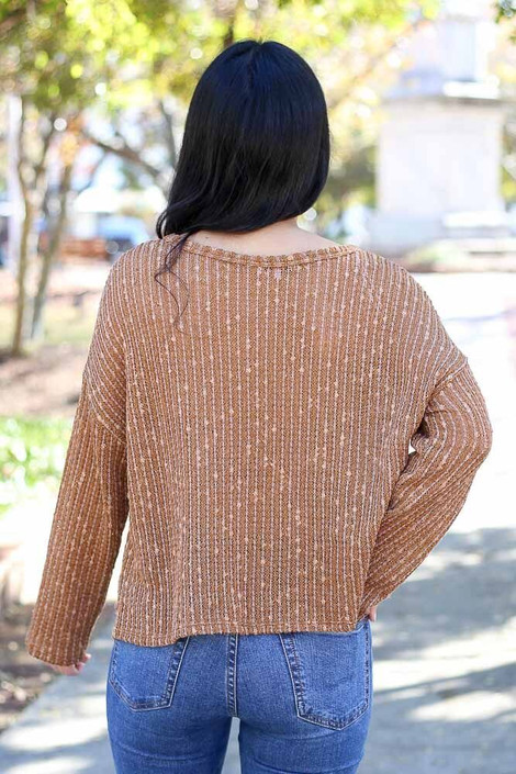 Model wearing the Open Ribbed Knit Cropped Sweater - Back View