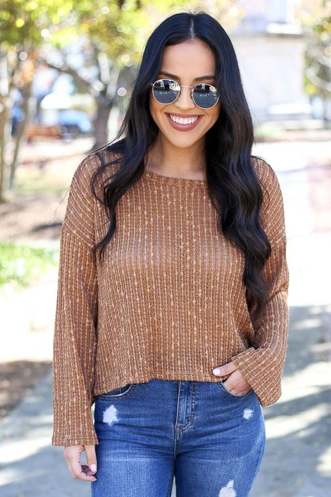 Model wearing the Open Ribbed Knit Cropped Sweater - Front View