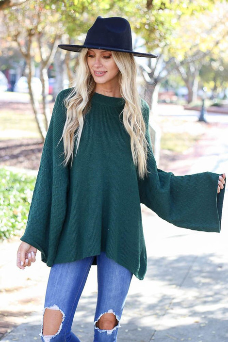 Model of Dress up wearing the Plush Wide Sleeve Sweater - Front View