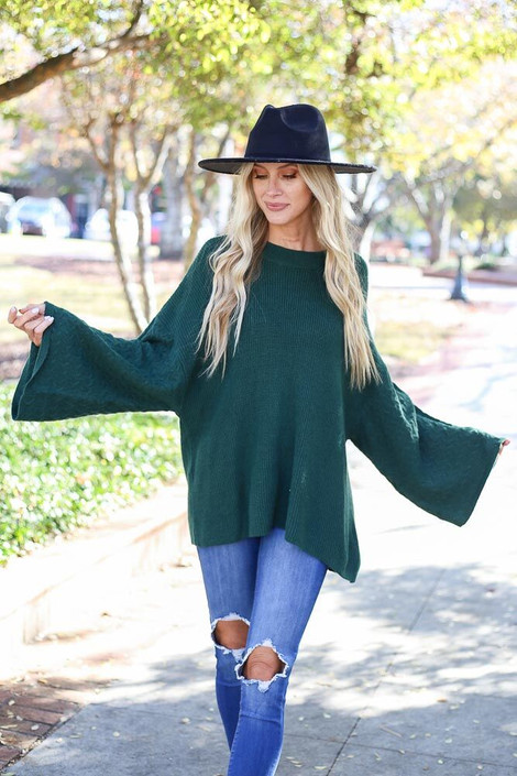 Green - Plush Wide Sleeve Sweater from Dress Up Boutique