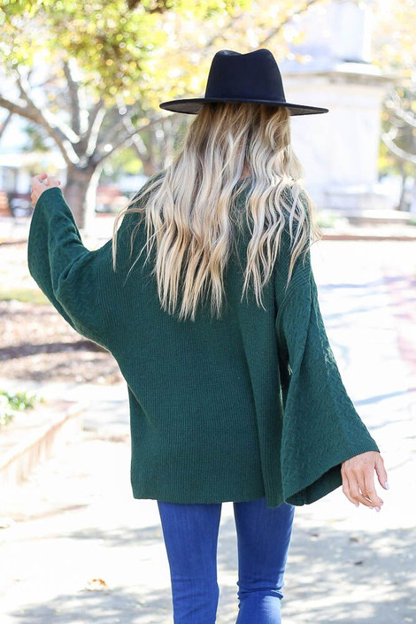 Model of Dress up wearing the Plush Wide Sleeve Sweater - Back View