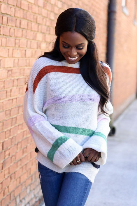 Model wearing the Striped Wide Sleeve Sweater from Dress Up - Front View