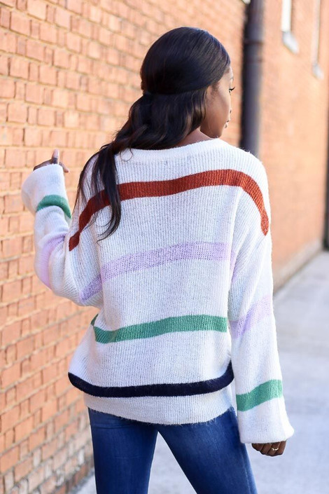 Model wearing the Striped Wide Sleeve Sweater from Dress Up - Back View