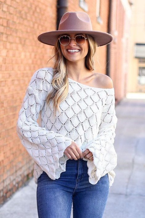 Ivory - Patterned Open Knit Sweater from Dress Up Boutique