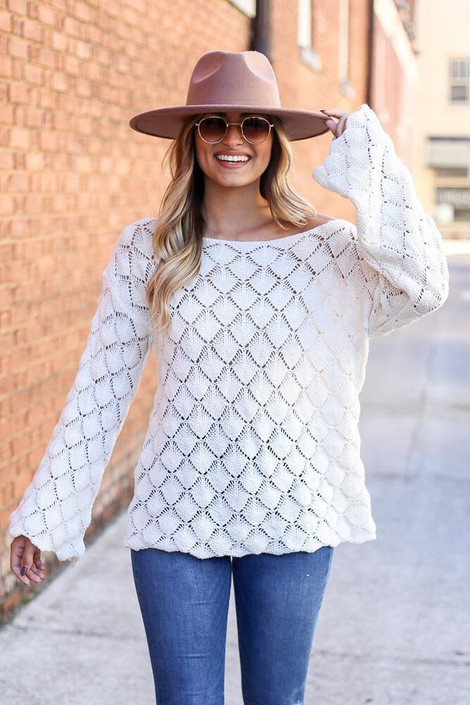 Model of Dress Up wearing the Patterned Open Knit Sweater Front View
