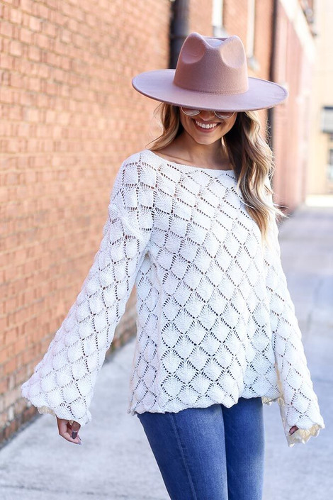Model of Dress Up wearing the Patterned Open Knit Sweater Side View