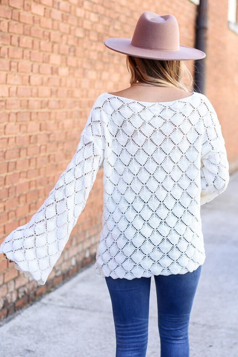 Model of Dress Up wearing the Patterned Open Knit Sweater Back View