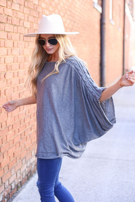 Model wearing Cable Knit Doleman Sleeve Top from Dress Up Side View