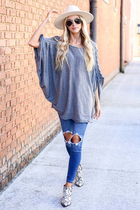 Charcoal - Cable Knit Doleman Sleeve Top from Dress Up