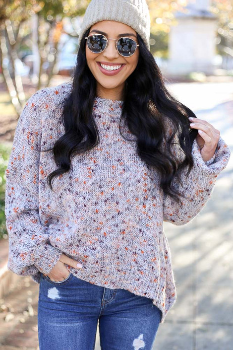 Taupe - Lightweight Speckled Knit Sweater from Dress Up