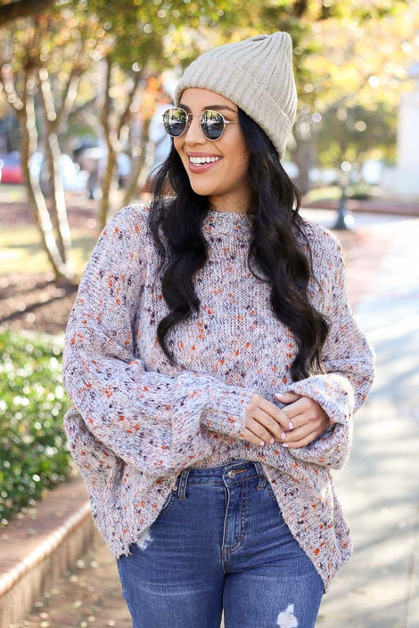 Lightweight Speckled Knit Sweater on Model - Front View