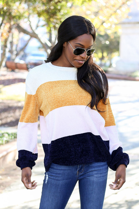 Multi - Chenille Balloon Sleeve Sweater from Dress Up Boutique