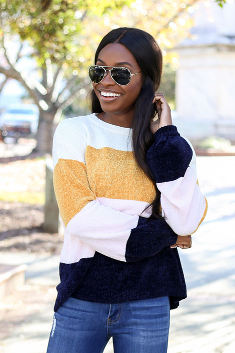 Model from Dress Up wearing the Chenille Balloon Sleeve Sweater - Front View