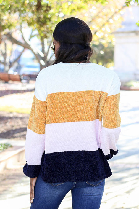 Model from Dress Up wearing the Chenille Balloon Sleeve Sweater - Back View