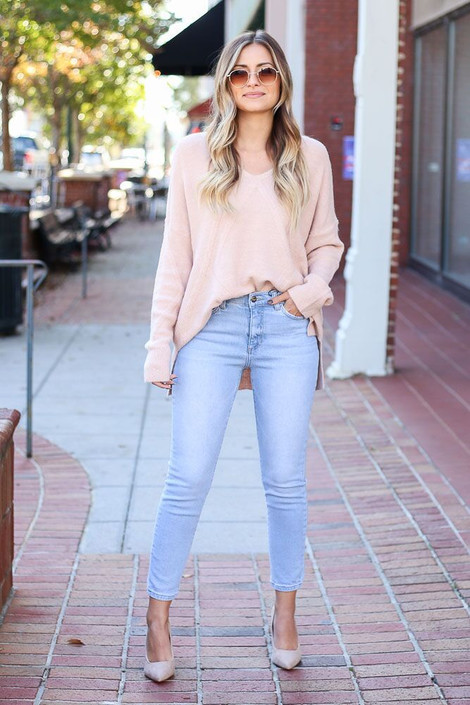 Dress Up Model wearing Light Wash Mid Rise Ankle Skinny Jeans - Front View