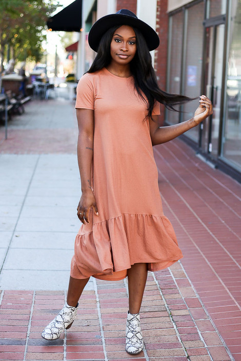 Rust - Flutter Hem Shift Dress from Dress Up Boutique
