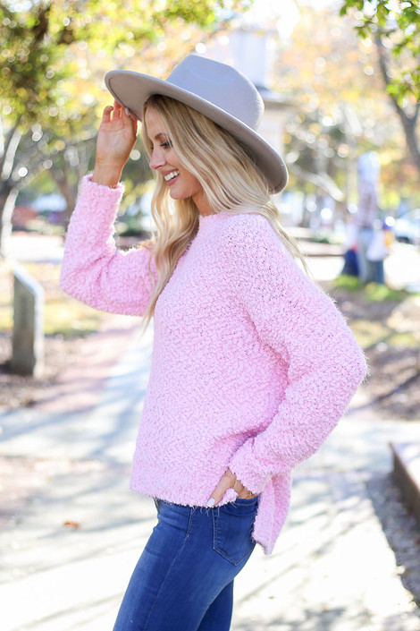 Mauve - Plush Popcorn Knit Sweater from ShopDressUp