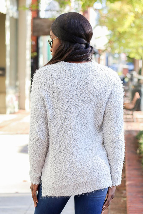 Dress Up Model wearing the Plush Popcorn Knit Sweater in Light Grey - Back View