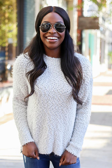 Dress Up Model wearing the Plush Popcorn Knit Sweater in Light Grey - Front View