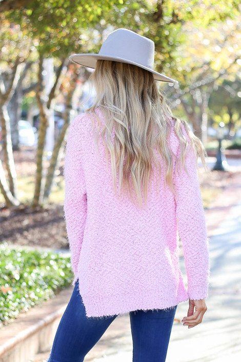 Dress Up Model wearing the Plush Popcorn Knit Sweater in Mauve - Front View