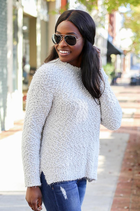 Light Grey - Plush Popcorn Knit Sweater from ShopDressUp