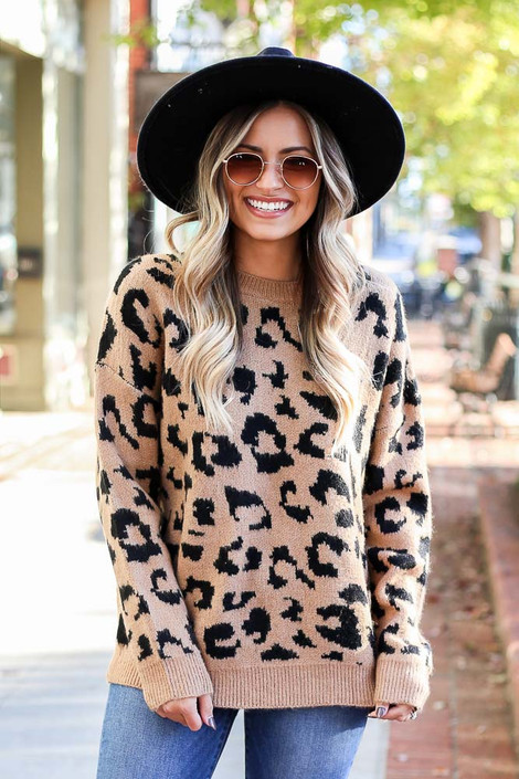 Leopard Luxe Knit Sweater on Dress Up Model - Front View