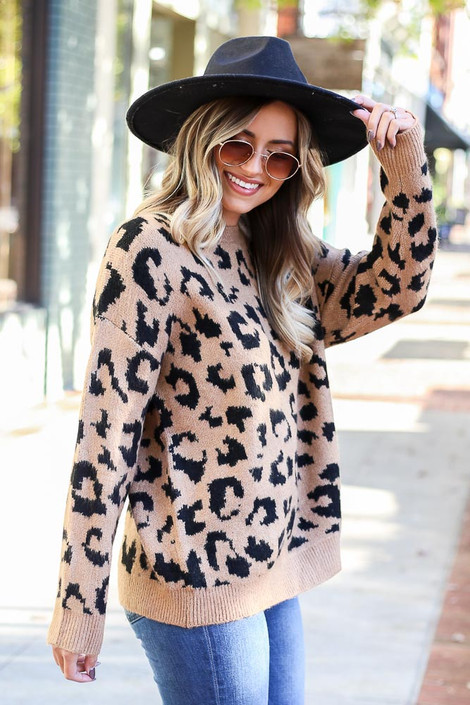 Camel - Leopard Luxe Knit Sweater from Dress Up Boutique
