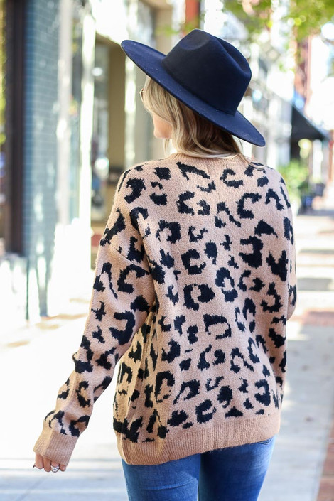 Leopard Luxe Knit Sweater on Dress Up Model - Back View