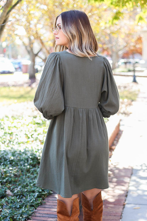 Model wearing the Woven Button Front Babydoll Dress - Back View