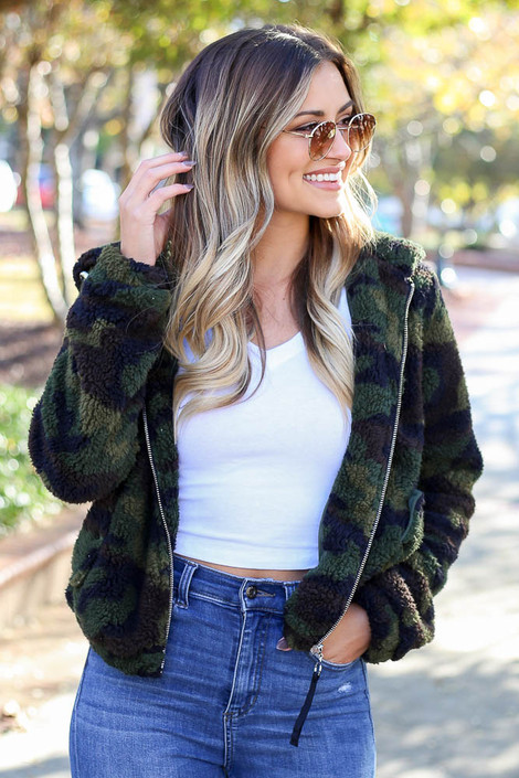 Model wearing the Camo Sherpa Cropped Jacket - Front View