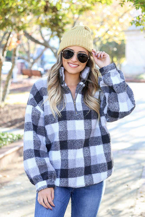 Charcoal - Nina Sherpa Buffalo Plaid Quarter Zip Pullover from Dress Up Boutique