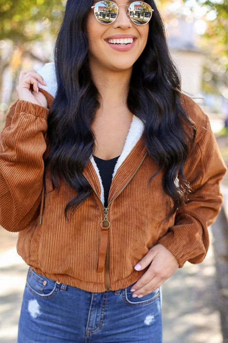 Dress Up Model wearing Sherpa Lined Corduroy Jacket - Front View