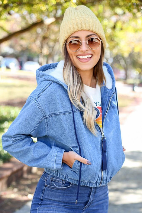 Light Wash - Faux Fur Lined Denim Jacket from Dress Up