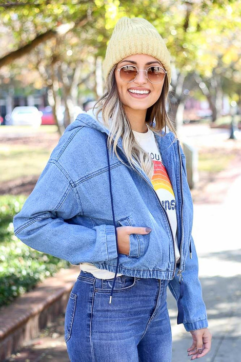 Model wearing the Light Wash Faux Fur Lined Denim Jacket from Dress Up - Side View