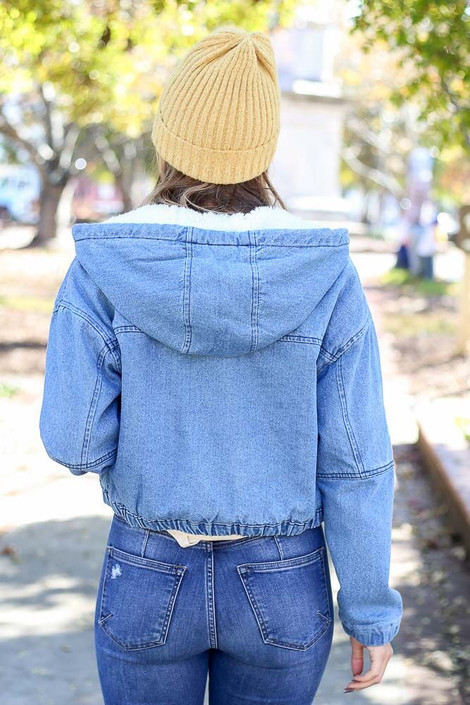 Model wearing the Light Wash Faux Fur Lined Denim Jacket from Dress Up - Back View