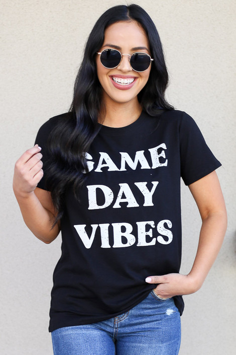 Dress Up Model wearing Cute Game Day Tee in Black