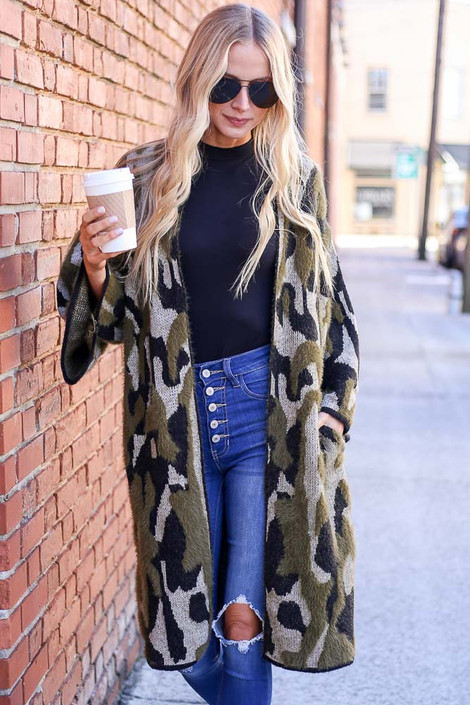 Model wearing the Camo Fuzzy Eyelash Knit Cardigan from Dress Up Boutique - Front View