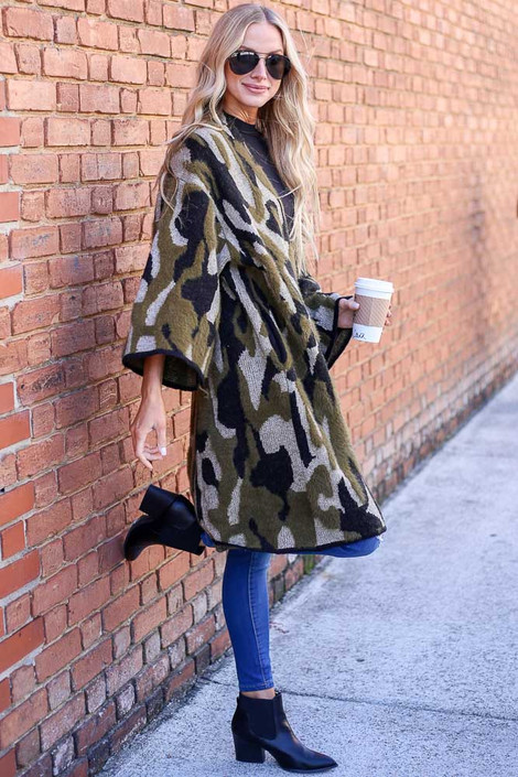 Model wearing the Camo Fuzzy Eyelash Knit Cardigan from Dress Up Boutique - Side View