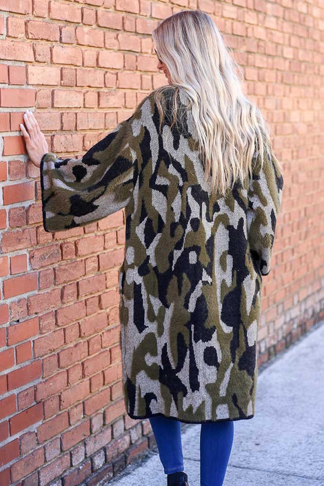 Model wearing the Camo Fuzzy Eyelash Knit Cardigan from Dress Up Boutique - Back View