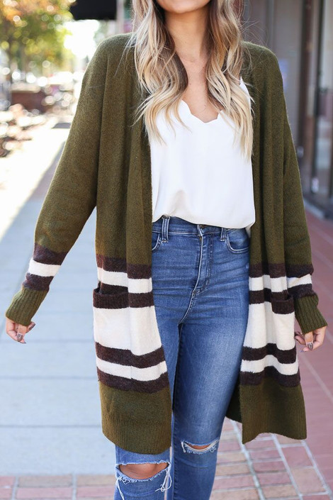 Olive - Pocketed Lightweight Knit Cardigan Sweater from Dress Up