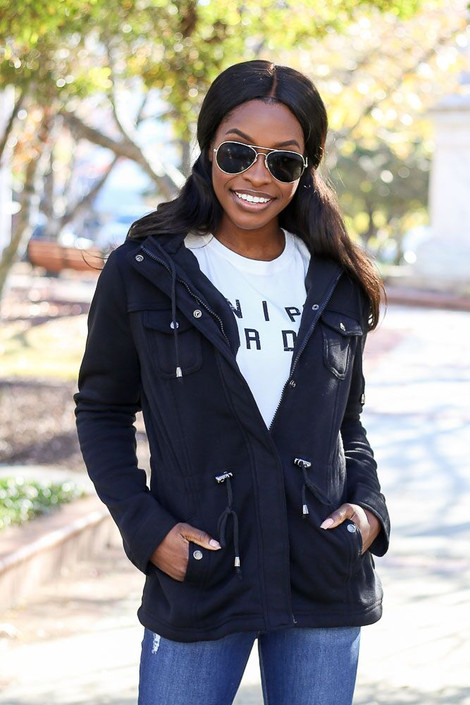 Black - Fleece Lined Utility Jacket from Dress Up