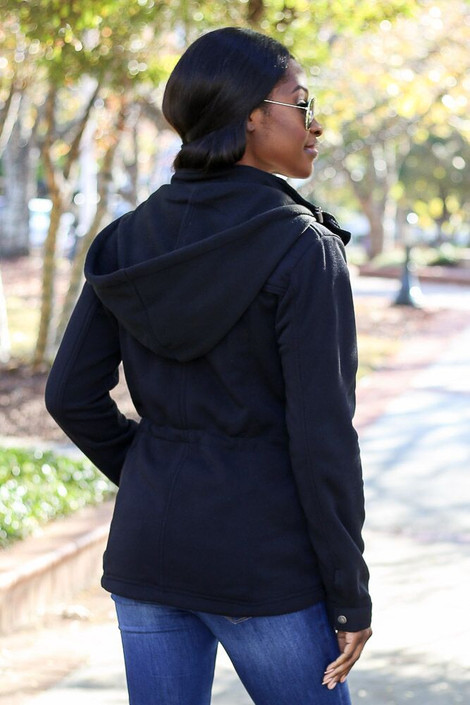 Model wearing the Fleece Lined Utility Jacket from Dress Up in Black - Back View